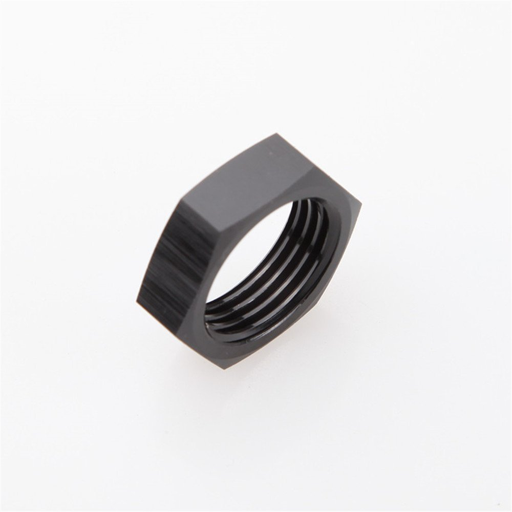 6AN AN6-6AN Bulkhead Nut Fitting Adapter Aluminum Black