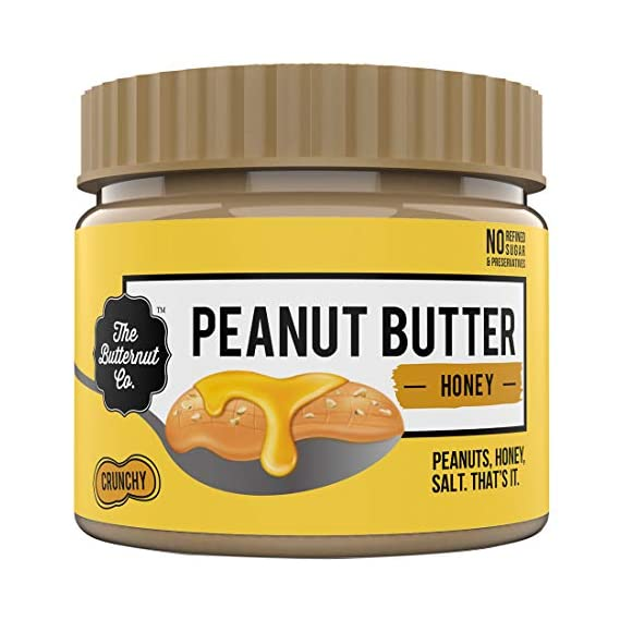 The Butternut Co. Peanut Butter Honey, Crunchy 340 gm (No Refined Sugar, High Protein, 100% Natural)
