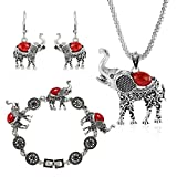 Kyпить Miraculous Garden Womens Vintage Silver Ethnic Tribal Elephant Boho Pendant Necklace Drop Earrings Link Bracelet Jewelry Sets (Red) на Amazon.com