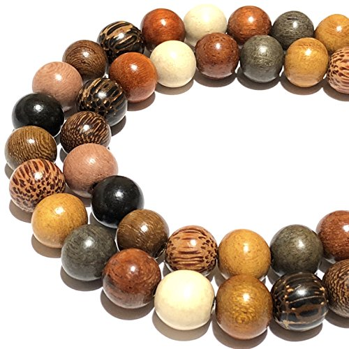 [ABCgems] Premier Wood Collection (Hand Carved from Exotic Hardwood) Precision-Cut 12mm Smooth Round Beads for Jewelry Making (Aquamarine Strand Bracelet)