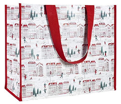 Oversize Cute Festive Holiday Large Reusable Market Tote, Foldable Eco Shopping Bag with Durable Shoulder Straps, Holiday Toile (Tote Bags Small Recycled)