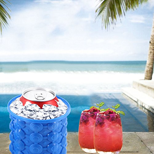 SODIAL 2 pcs silicone ice bucket, ice machine, ice cup for outdoor, home, party, ice cream container