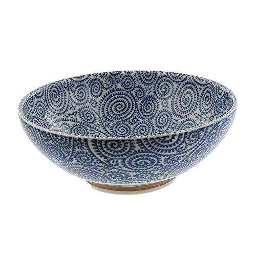 Zen Table Japan Large 54 oz Wide Mouth Ramen Noodle, Udon, Pasta, Soup, Donburi Bowl/Serving Bowl Blue and White Octopus Arabesque (Kosome Tako Karakusa) -Made in ()