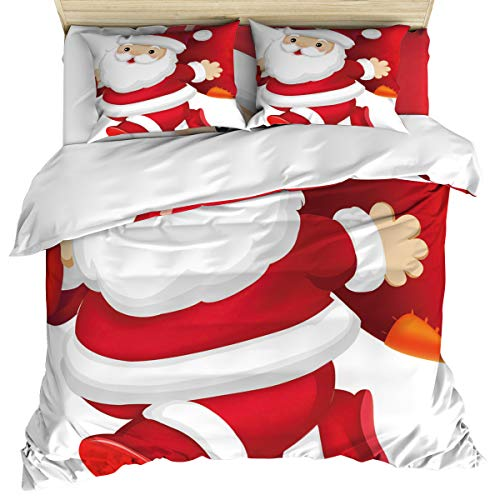 (Luxury 4 Piece Bedding Set California King, Santa Claus Carrying Gifts Duvet/Comforter/Quilt Cover Set with Bed Sheet Pillow Shams for Kids/Teens/Adults/School)