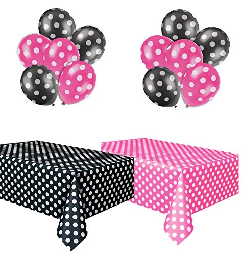 Polka Dot Party Set, Includes 1 Hot Pink Tablecloth, 1 Black Tablecloth, 6 Hot Pink Balloons and 6 Black Balloons. -