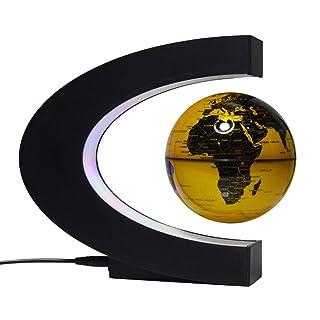 Globo galleggiante da 4 pollici con luci a LED Forma di C Levitazione magnetica Globo galleggiante Mappa del mondo per decorazioni da scrivania (come regalo è una buona scelta),Blue