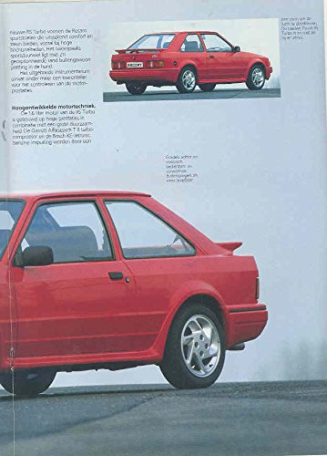 Amazon.com: 1986 Ford Escort RS Turbo XR3i Performance Brochure Dutch: Entertainment Collectibles
