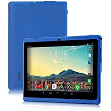 """7"""" Tablet Google Android 6.0, Quad Core,1024x600, Dual Camera, Wi-Fi, Bluetooth,1GB/16GB,Play Store Netfilix Skype 3D Game Supported, GMS Certified with One Year Warranty,iRULU X37-Blue"""