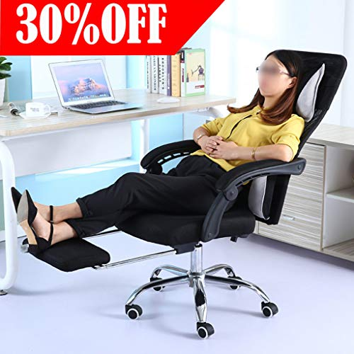 Ergonomic Office Chair - High-Back Desk Chair Racing Style with Lumbar Support - Height Adjustable Seat,Headrest- Breathable Mesh Back - Soft Foam Seat Cushion with Footrest (Black) Back Synchro Chair Headrest