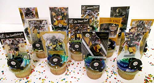 PITTSBURGH STEELERS 24 Piece Birthday Cupcake Topper Party Favor Set ()