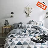 VCLIFE Cotton Bedding Sets King Duvet Cover Sets Reversible Gray Triangle Geometric Print Bedding Collections for Boy Girl - Zipper Closure & 4 Corner Ties, Hypoallergenic, Soft, Luxury