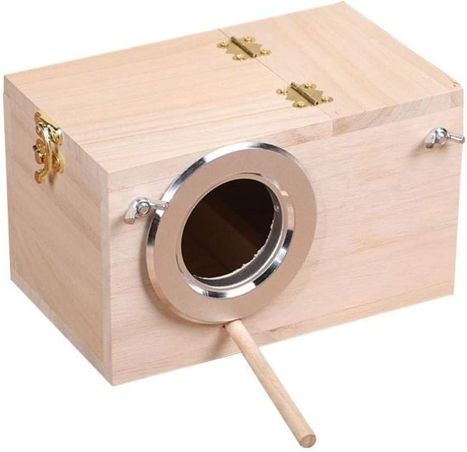 KOET Nido de periquitos, caja de cría de aviario de madera, periquitos Budgerigar Canarias, caja de nido de cría de pájaros, cajas de alimentación casa