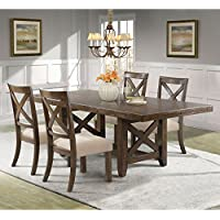 Picket House Furnishings Francis Dining Set-Table & 4 X-Back Wooden Chairs Rustic/Chestnut/Rubber Wood/5 Piece