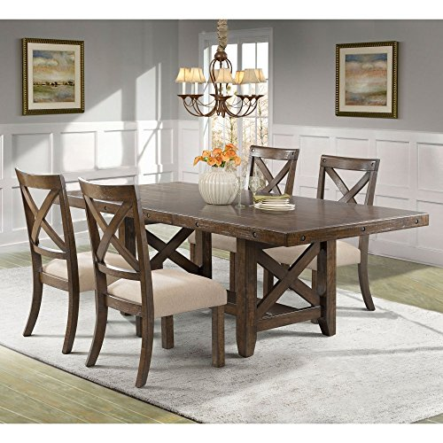 Francis Dining Table, 4 X-Back Wooden Chairs