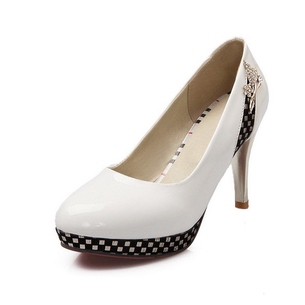 BalaMasa Girls Platform Metal Ornament Glass Diamond White Imitated Leather Pumps-Shoes - 8 B(M) US