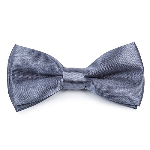 Woven Solid Color (ELENKER Solid Color Woven Microfiber Kids Pre Tied Adjustable Bowtie (Gray))