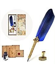theFIU. Quill Pen, Handcrafted Quill Pen and Ink Set, Antique Dip Feather Pen Set Calligraphy Pen Set Writing Quill Ink Dip Pen with Ink Pen Holder Gift Set