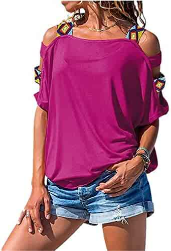 ef7e35f2f975a1 XMNDS Women's Comfy Casual Short Sleeve Side Twist Knotted Tops Blouse  Tunic T Shirts