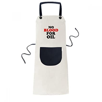 Diythinker No Blood For Oil Love And Peace World Acooking Bib Black Kitchen Pocket Women