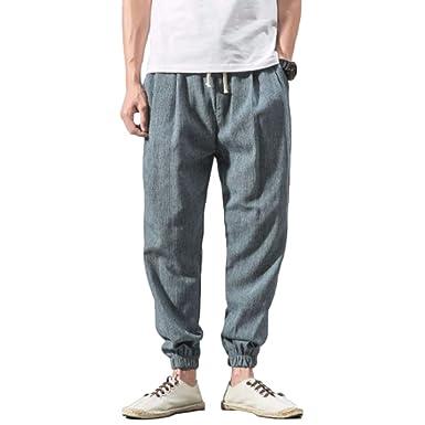 Yefree Otoño e Invierno Pantalones con cordón de Hombre Casual ...