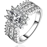 Womens Wedding Rings Engagement Ring Silver Crystal Glitter Jewelry Size7-8 HK LOVE STORY (Size 8)
