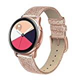 SWEES Genuine Leather Band Compatible Samsung Galaxy Watch Active 40mm Band, 20mm Replacement Bands with Quick Release Pins for Galaxy Watch Active 2 Smart Watch 2019 Women Men, Glitter Rose Gold