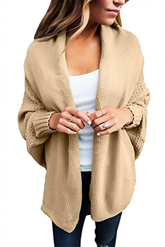 Astylish Women Long Sleeves Cardigan Sweater Draped Open Outwear Khaki Small Size 4 6
