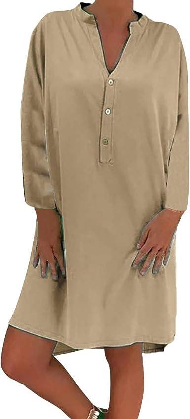 Vestido de Lino de algodón para Mujer Fiesta Casual Camisa Vestido ...