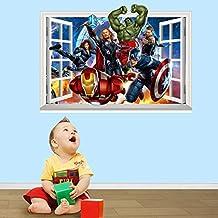 Fange DIY Removable 3d Windows Avengers Super Hero Art Mural Vinyl Waterproof Wall Stickers Kids Room Decor Nursery Decal Sticker Wallpaper 27.5''x19.6''