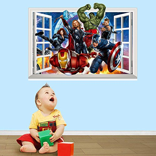 Fange DIY Removable 3d Windows Avengers Super Hero Art Mural Vinyl Waterproof Wall Stickers Kids Room Decor Nursery Decal Sticker Wallpaper 27.5''x19.6'' by (Super Heroes Avengers)