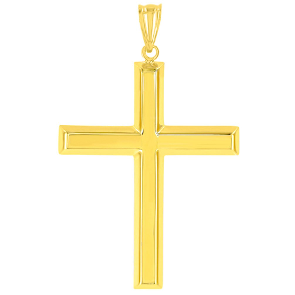 Polished 14K Yellow Gold Plain Religious Cross Pendant with Figaro Chain Necklace, 24'' by JewelryAmerica (Image #3)