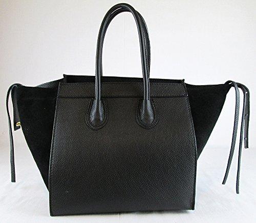 véritable en similaire en véritable celine Italie cuir Noir et cuir daim Fabriqué Sac qgtw0