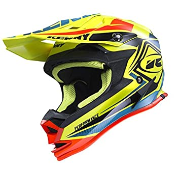 Kenny MX Casco Performance – Amarillo neón de color azul de color naranja, blau,