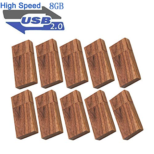 Wood Flash Drives 8GB, EASTBULL Wooden USB Flash Drive 2.0 High Speed Walnut Wood Drives Memory Sticks (10 Pack)