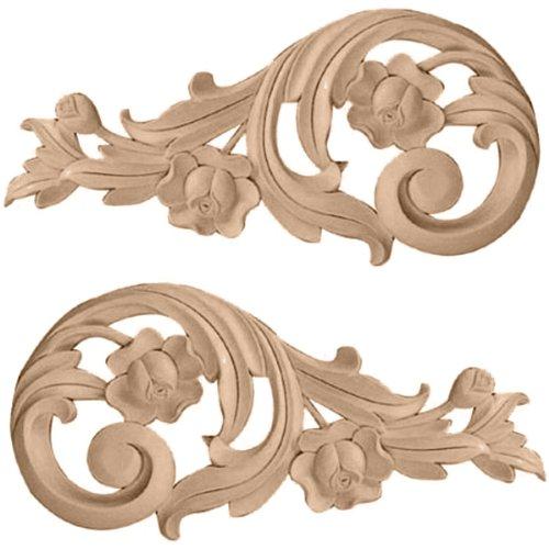 UPC 849014023885, Ekena Millwork ONL09X04X01ROMA Each Side Medium Rose Scrolls Pair, 9 3/4-Inch x 4 3/4-Inch x 3/4-Inch, Maple
