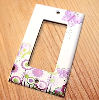 Lilac Butterfly Girls Bedroom Light Switch Cover LS0030 (Single Decora)