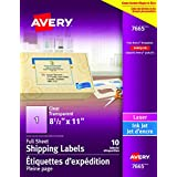 """Avery Clear Shipping Labels with Easy Peel for Laser and Inkjet Printers, 8.5"""" x 11"""", Glossy Clear, Rectangle, 10 Labels, Permanent (7665) Made in Canada"""