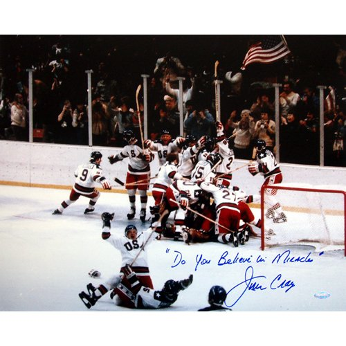 Steiner Sports NHL USA Hockey Jim Craig 1980 USA Celebration 16 x 20-inch with ''Do You Believe in Miracles?'' Inscription. by Steiner Sports