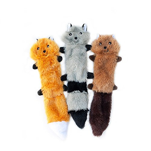 - ZippyPaws - Skinny Peltz No Stuffing Squeaky Plush Dog Toy, Fox, Raccoon, and Squirrel - Small