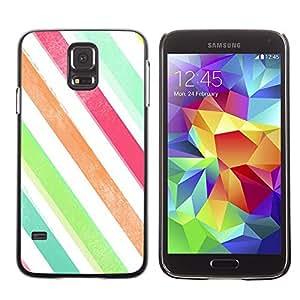 Be Good Phone Accessory // Dura Cáscara cubierta Protectora Caso Carcasa Funda de Protección para Samsung Galaxy S5 SM-G900 // Stripes Watercolor Crayon Pastel