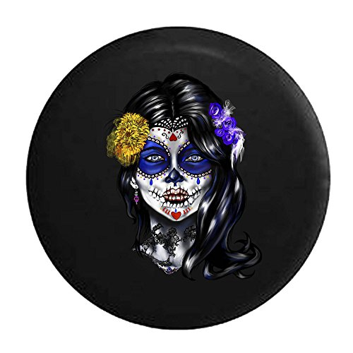 Beautiful Sugar Skull Girl Mexican Latin Tire Cover Black 33 in