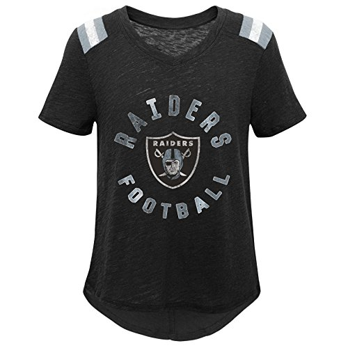 Outerstuff NFL NFL Oakland Raiders Youth Girls Retro Block Vintage Short Sleeve Football Tee Black, Youth - Tees Vintage Raiders Oakland