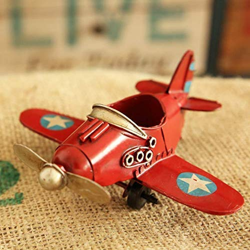 Gwill Airplane Metal Vintage Decor Decorative Airplane Model Hanging Wrought Iron Aircraft Biplane Pendant Tin Toys for Photo Props, Christmas Tree Ornament, Desktop Decoration