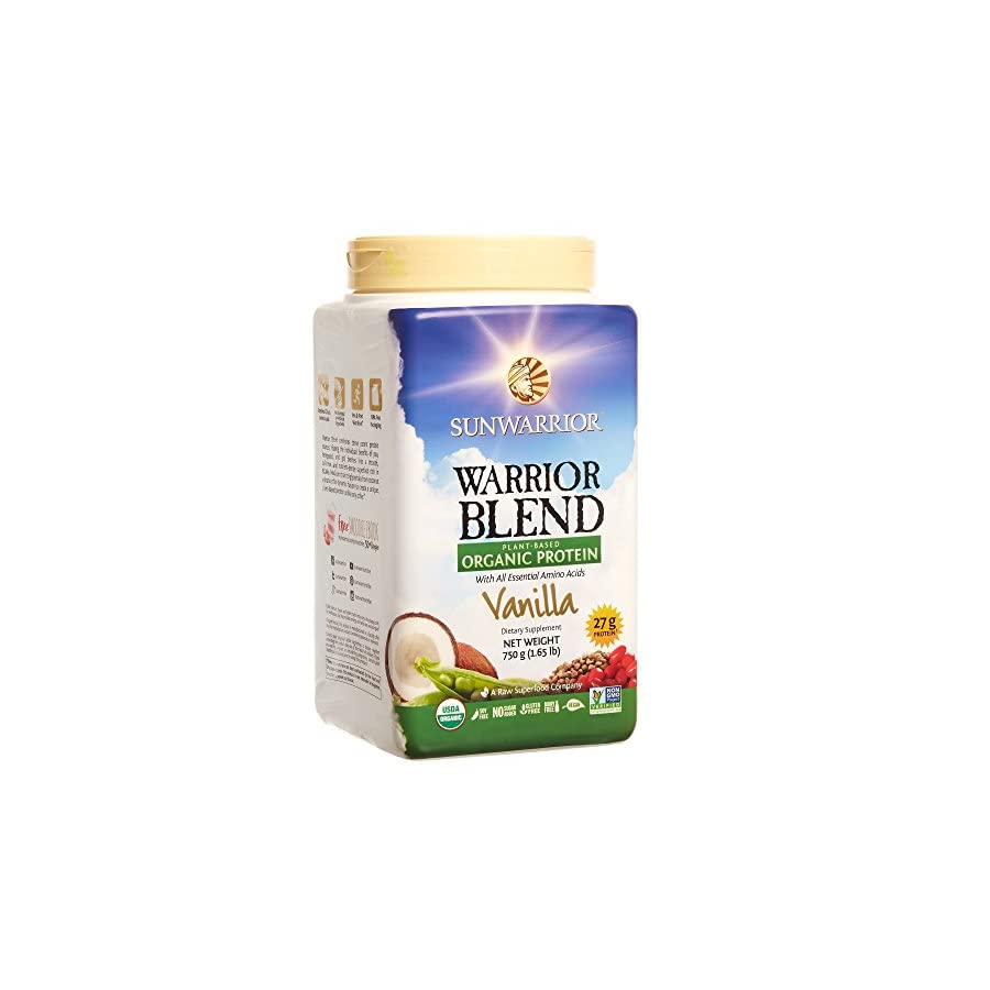 Sunwarrior Warrior Blend, Plant Based, Raw Vegan Protein Powder with Peas & Hemp, Vanilla, 30 Servings