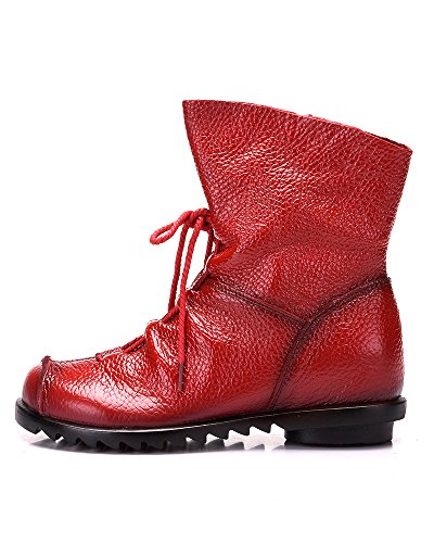 Ankle Leather Cap Toe Boot Red Zipper Real Women's Duberess Side qAwIgn