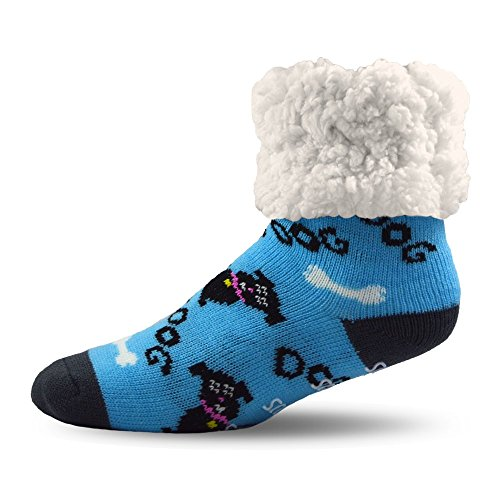 Pudus Dog blue adult regular cozy winter classic slipper socks with grippers ()