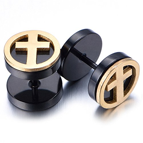 Gauge Cheater Earring (Youree 2pcs 10mm Black Screw Stud Earrings with O Ring Mens Stainless Steel Cheater Fake Ear Plugs Gauges Illusion Tunnel (ED07) (cross))