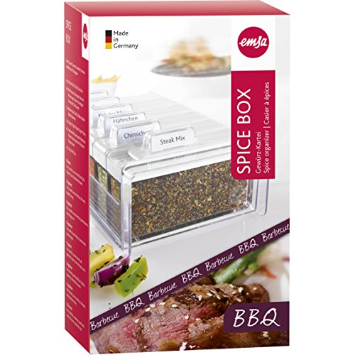Emsa 509263 Gewürz-Kartei Barbecue, 6 Gewürze, 0.075 Liter, Weiß/Transparent, Spice Box