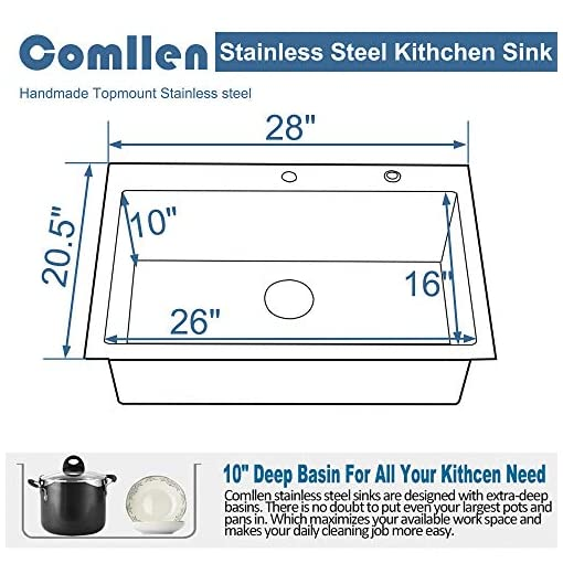 Kitchen Comllen Commercial Black 28 Inch 304 Stainless Steel Kitchen Sink,Single Bowl Kitchen Sink 10 Inch Deep Sink Handmade… modern kitchen sinks
