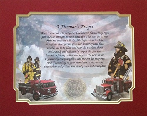 Fireman's Prayer Gift Idea for Dad Son Christmas Birthday Volunteer Firefighter